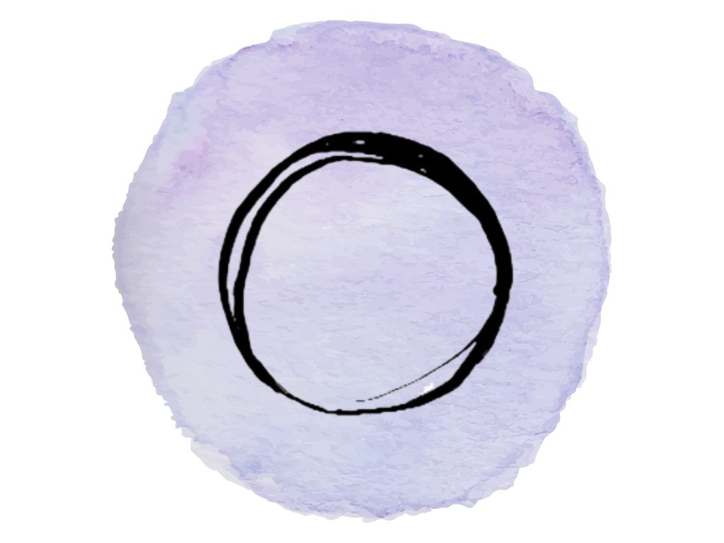 witch and wiccan symbols #9 the circle against a purple watercolour background