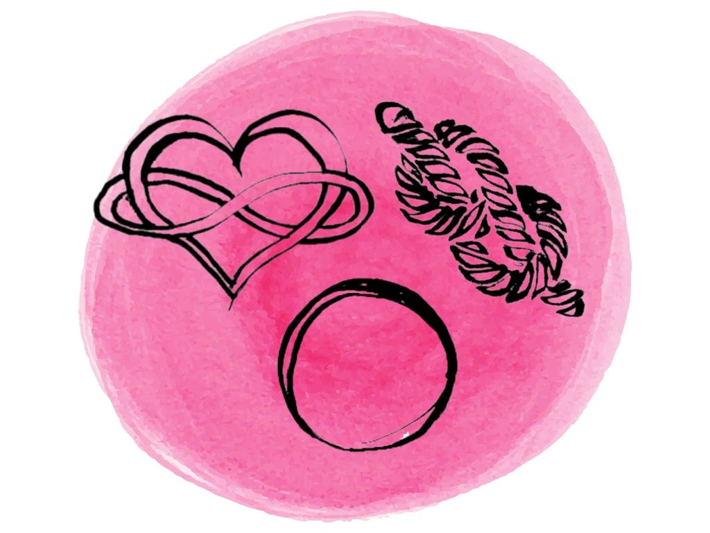 Witch and wiccan symbols for love x3 against a pink watercolour background
