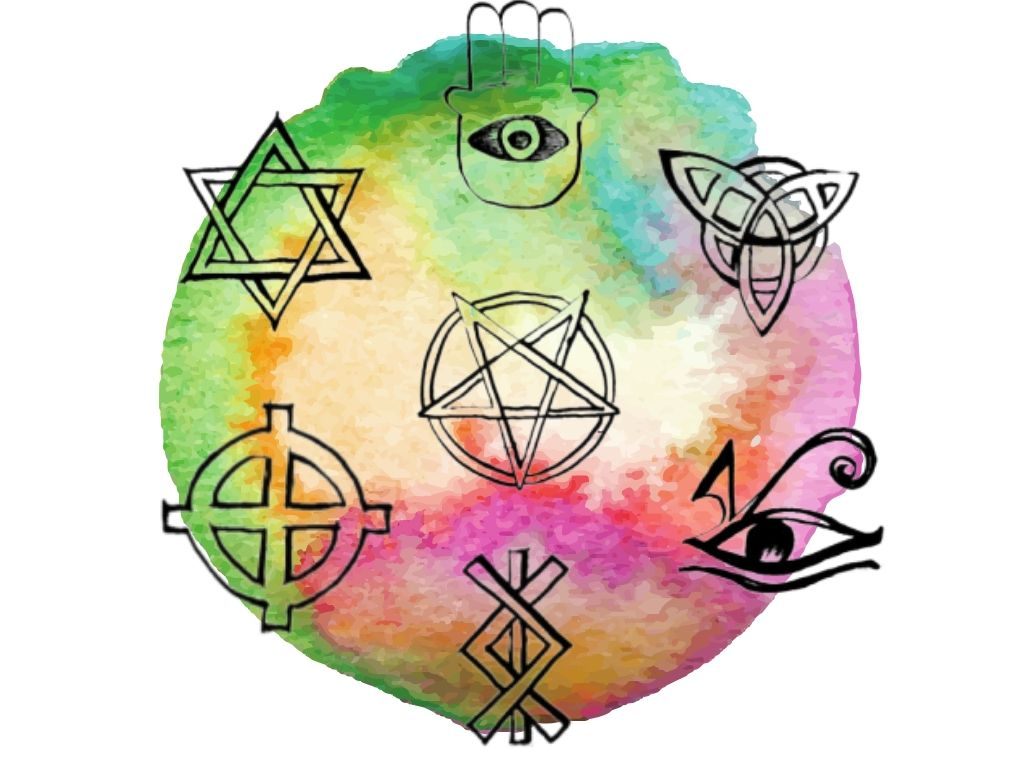 witch and Wiccan symbols for protection on watercolour background