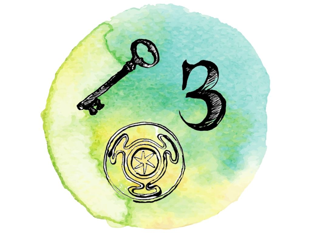 wiccan symbols for wealth x3 against a green watercolour background