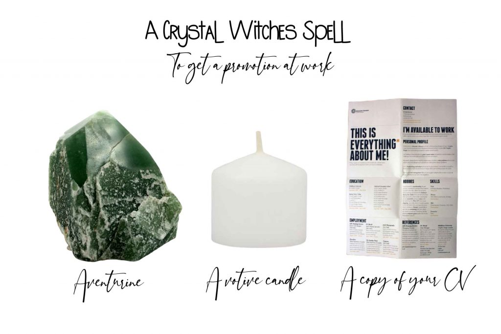 crystal witches spell to get a promotion at work spell ingredients on white background