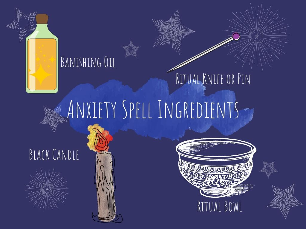anxiety spell ingredients illustrated and named on a dark blue background with anxiety spell ingredients written in the middle of the image in white with white stars around everything