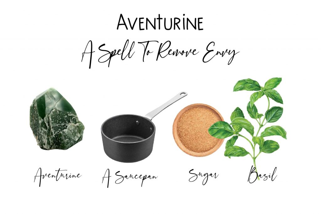 aventurine spell to remove envy spell four spell ingredients on white background