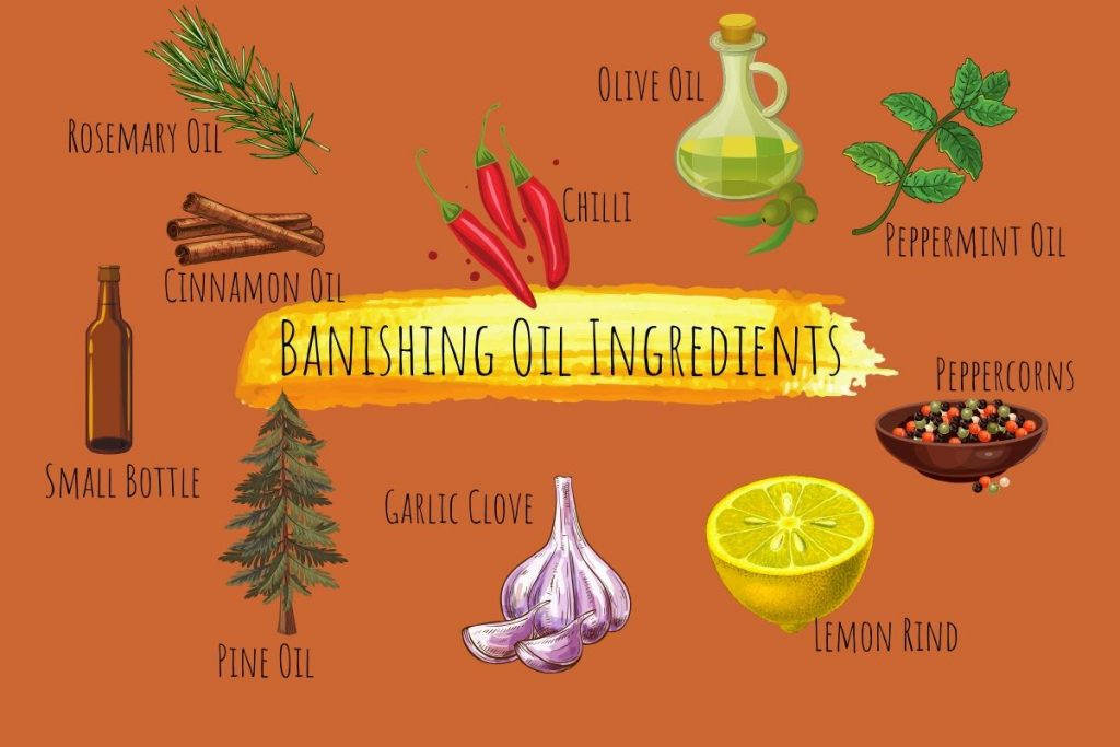 "banishing oil ingredients illustrated and named on an orange background with ""banishing oil ingredients"" written in the middle with a golden watercolour brushstroke behind it"