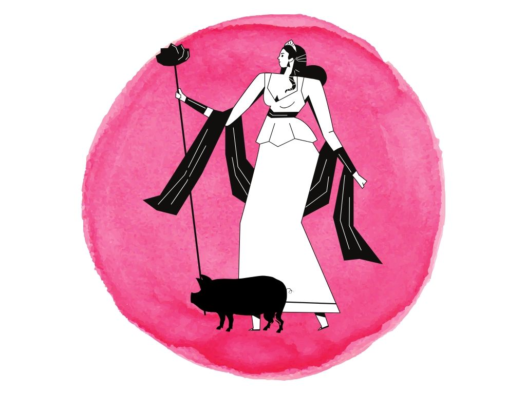 cerridwen with her black pig against a pink background for samhain