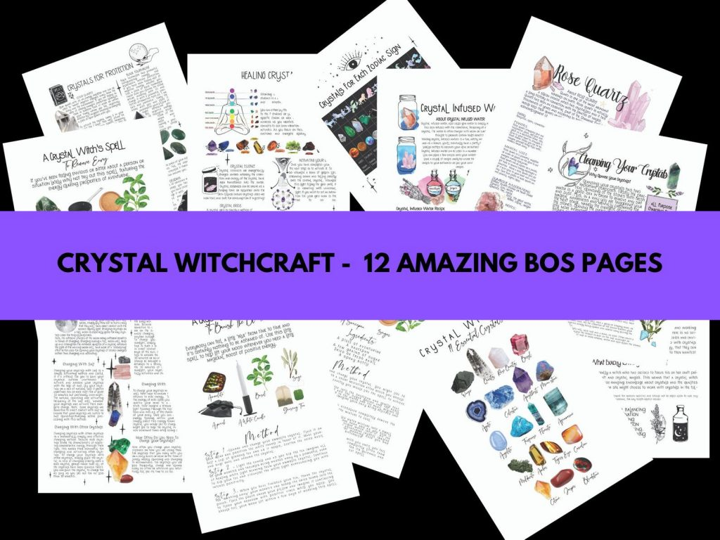 Crystal witchcraft - shop 12 amazing Book of Shadows pages