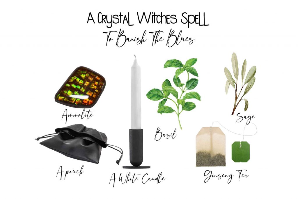 crystal witchcraft spell image featuring 6 spell ingredients on white background