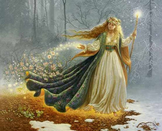 Brigid the goddess of imbolc throwing flowers to the earth to melt the winter snow