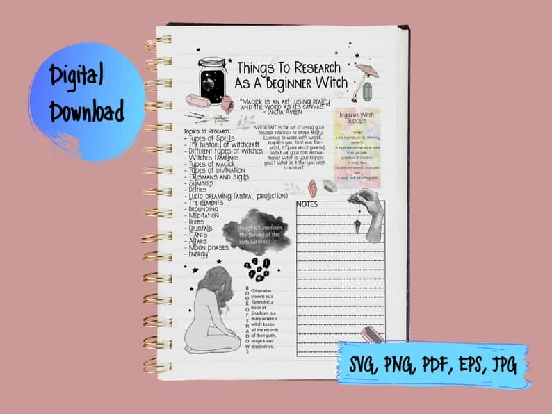 book of shadows page beginner witch things to research