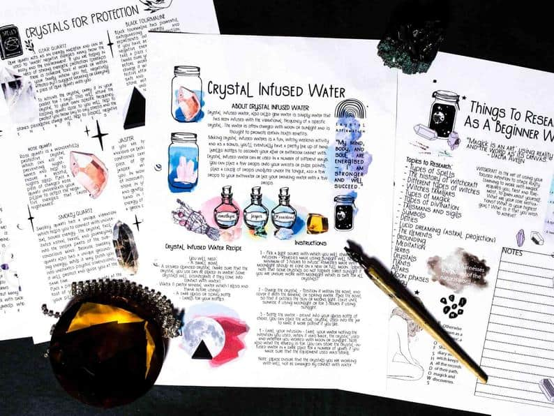 how to make crystal infused water book of shadows page