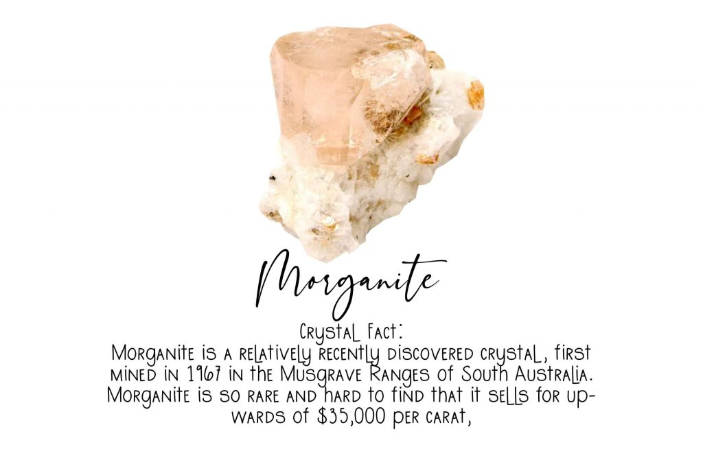 crystal witchcraft image and facts about morganite on white background