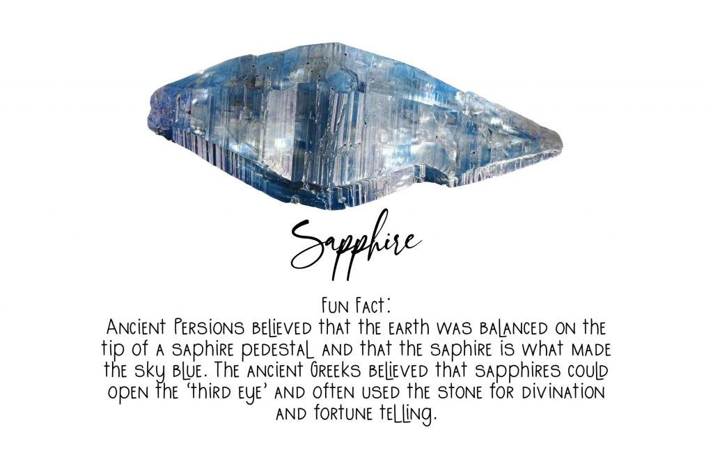 crystal witchcraft image of a sapphire and text about sapphires on a white background