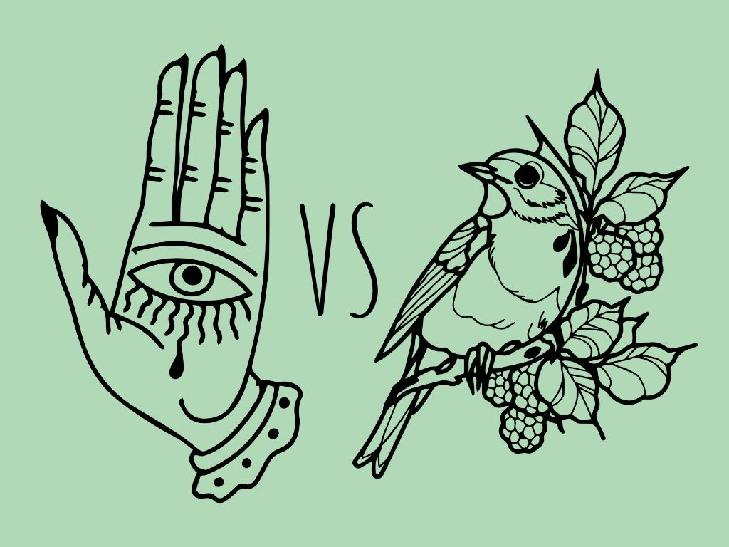 hand with and eye on the palm vs a bird in a branch against a pastel green background