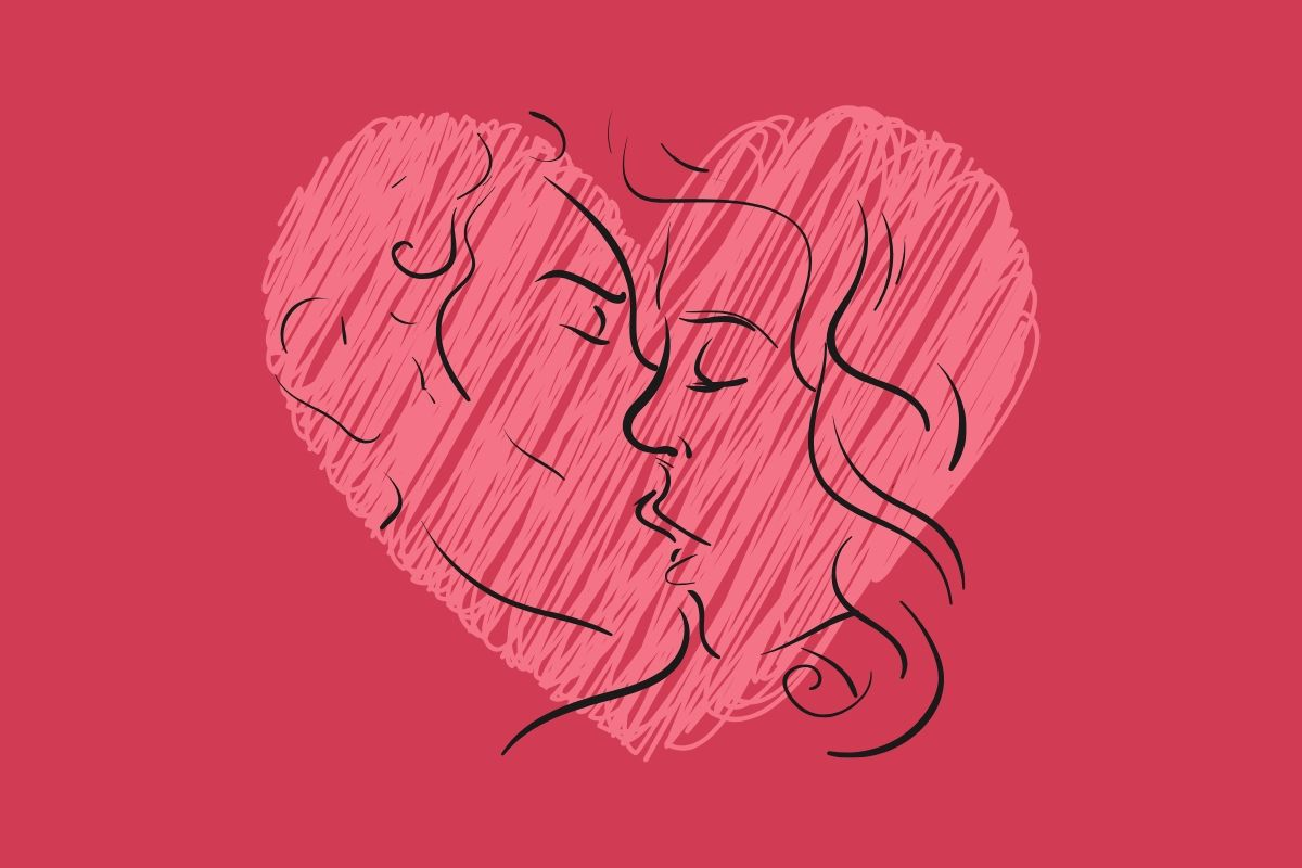 scribbled heart on dark pink background with line drawing of couple kissing