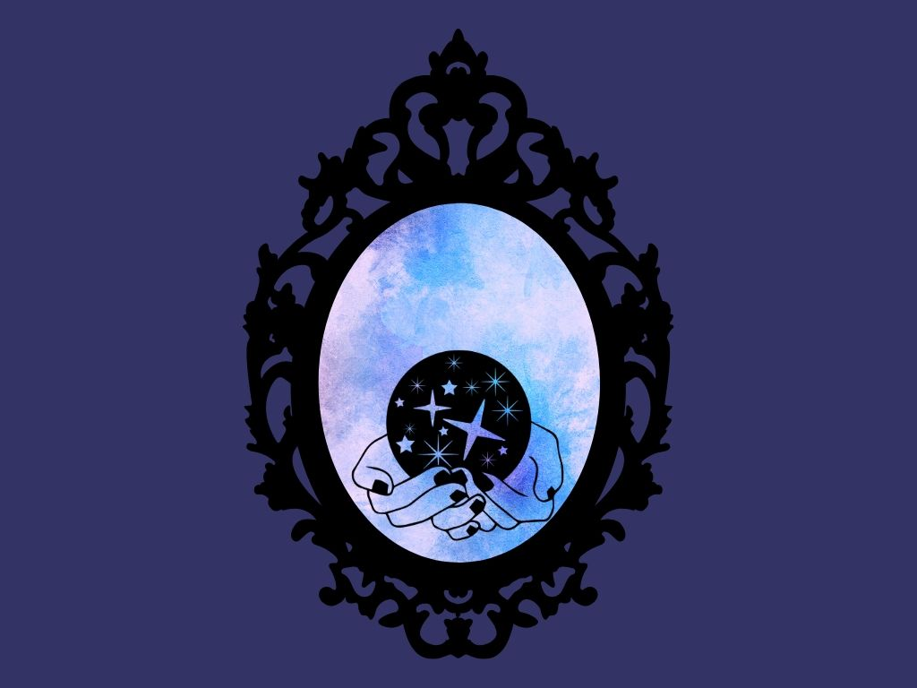 mirror with watercolour blue background with hands holding a crystal ball against a dark blue background