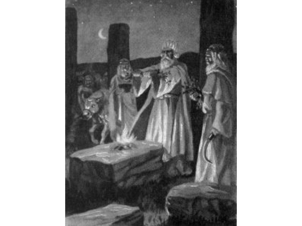 Celtic druids preparing for ritual sacrifice after lighting the fire at samhain