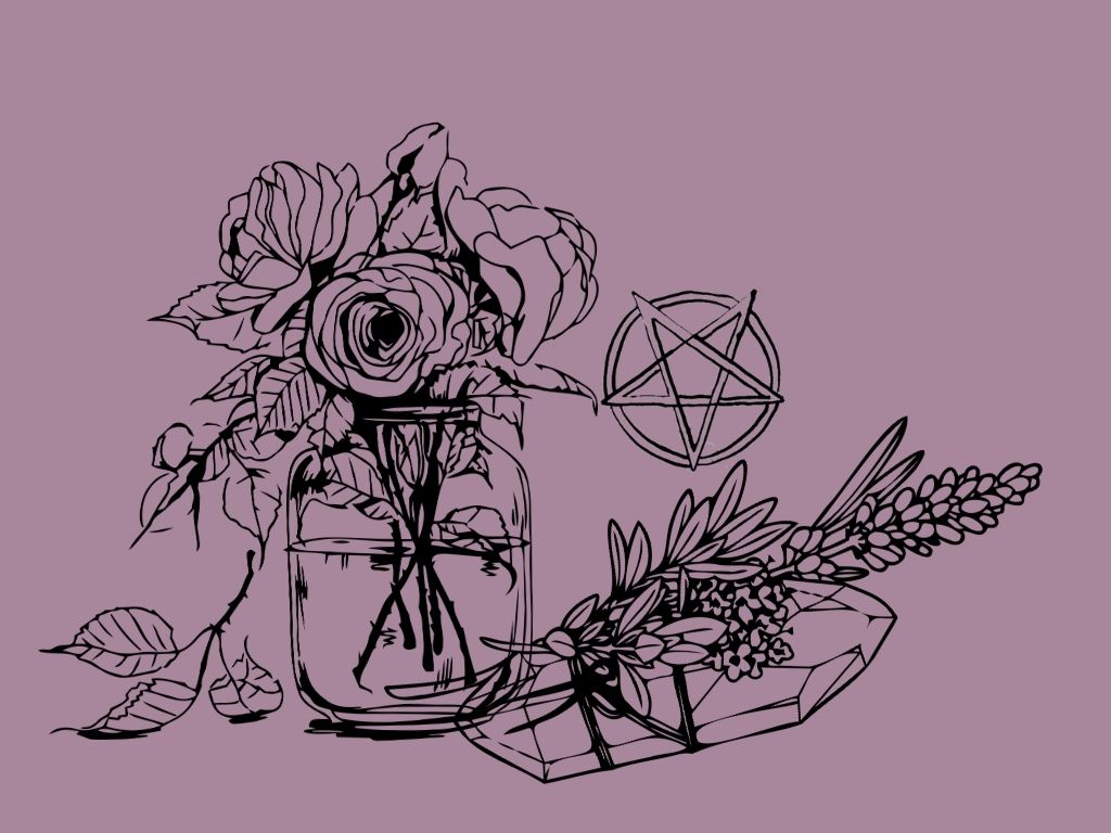 vase of roses, a crystal with lavender tied to it and a handdrawn pentagram against an aubergine background