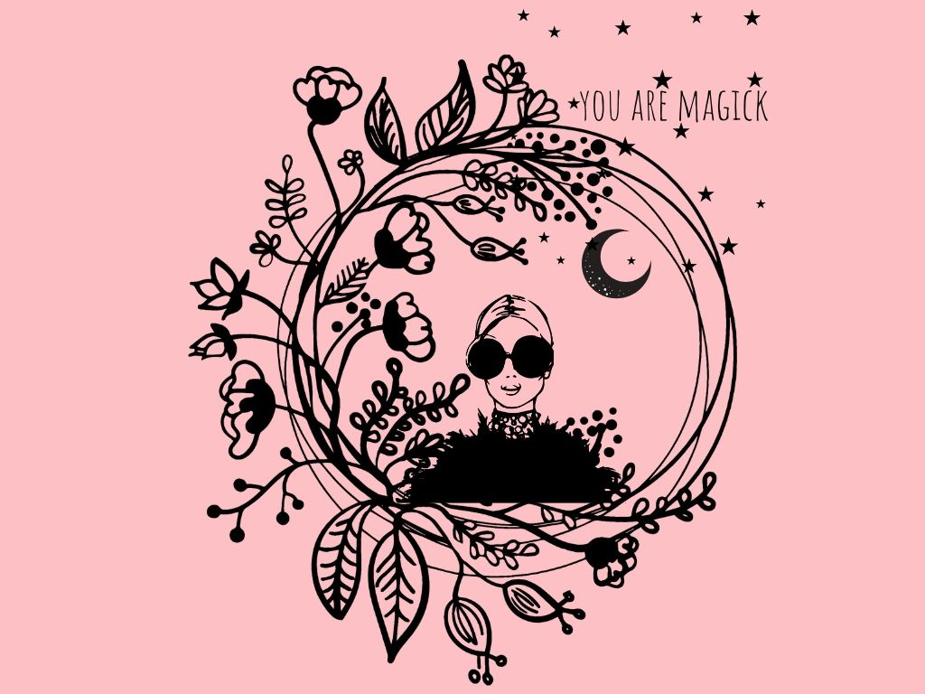 you are magick image for what is wicca with a woman and flowers plus the moon