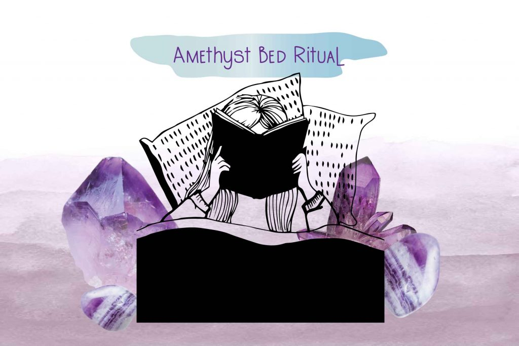 Amethyst bed ritual graphic. Women in bed surround by amethyst crystals on water coloured background