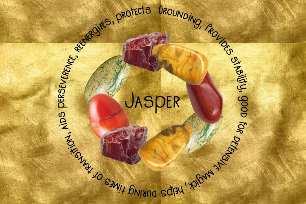 Jasper meaning and benefits text and stones pictured on gold background