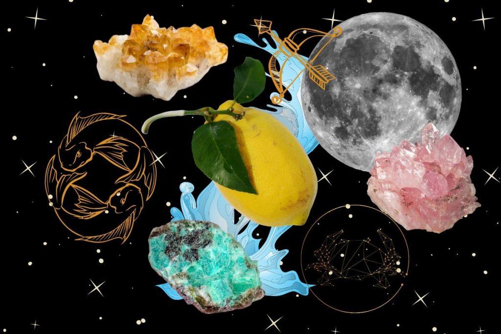 magickal properties of lemon illustrated on black background