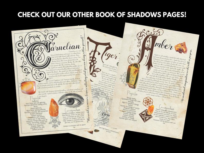 carnelian and amber book of shadows pages