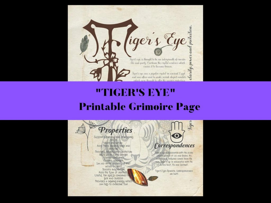 tigers eye book of shadows page