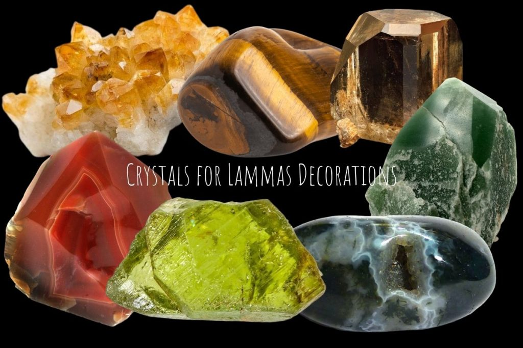 crystals for lammas decorations on black background