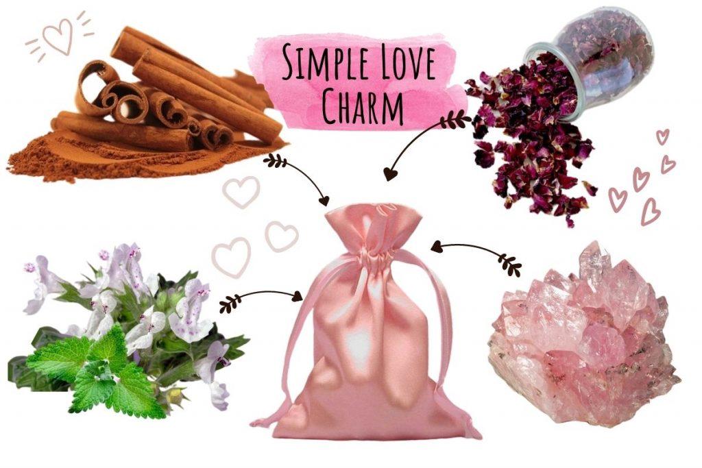 love charm using magickal properties of catnip, rose, cinnamon and rose quartz