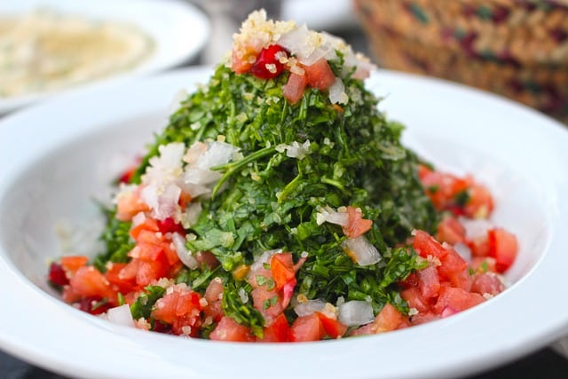 tabbouleh filled with parsley