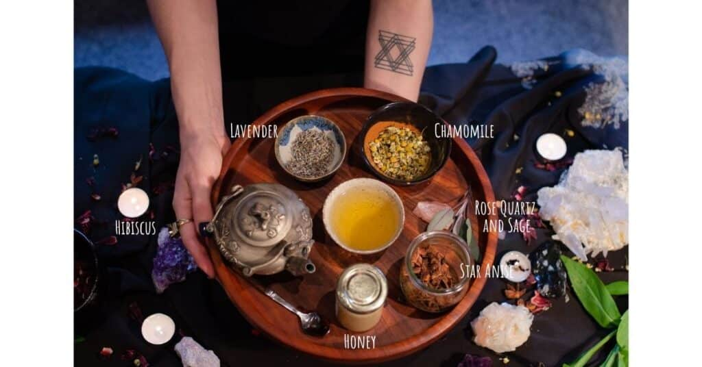 anti-anxiety tea ritual ingredietns on wooden tray