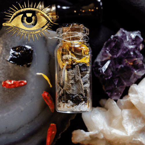 protection jar filled with crystals, herbs and salt