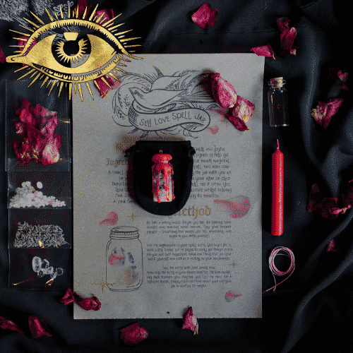 self-love DIY kit on black background with ingredients